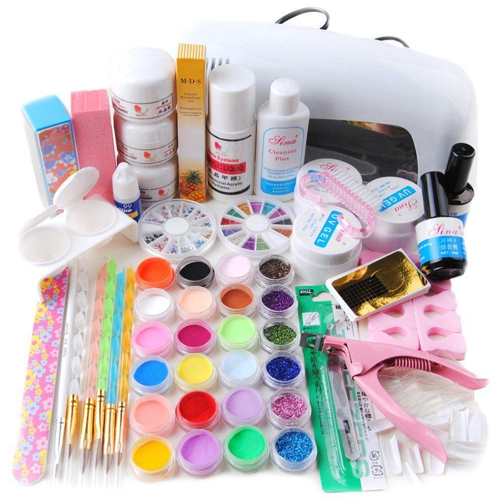 Coscelia Full 24 Color Acrylic Powder Glitter Liquid Nail Art Kit UV ...
