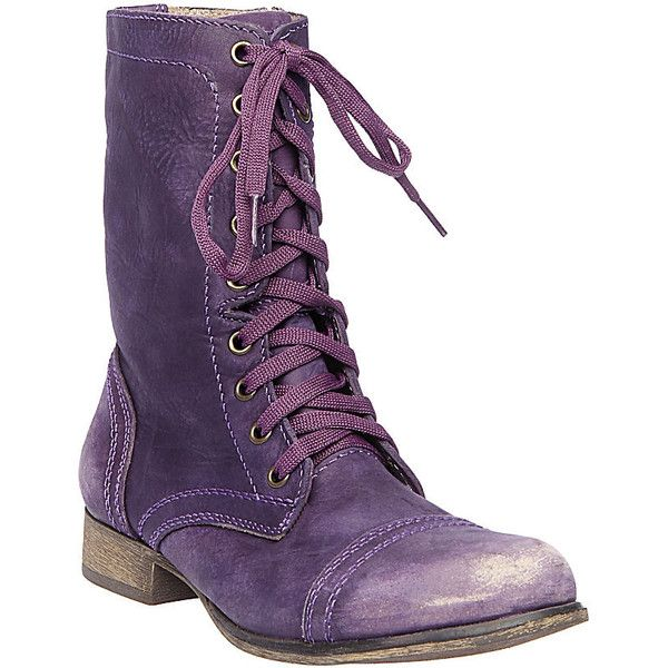 Steve Madden Troopa (130 CAD) ❤ liked on Polyvore featuring shoes, boots, ankle booties, ankle boots, purple leather, leather combat boots, leather ankle boots, combat boots, low heel ankle boots and military boots