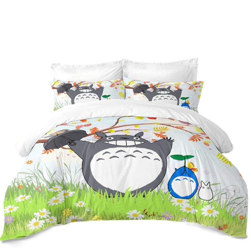 Pin By Urban Outfit On Totoro Green Duvet Covers Bedding Set Print Bedding
