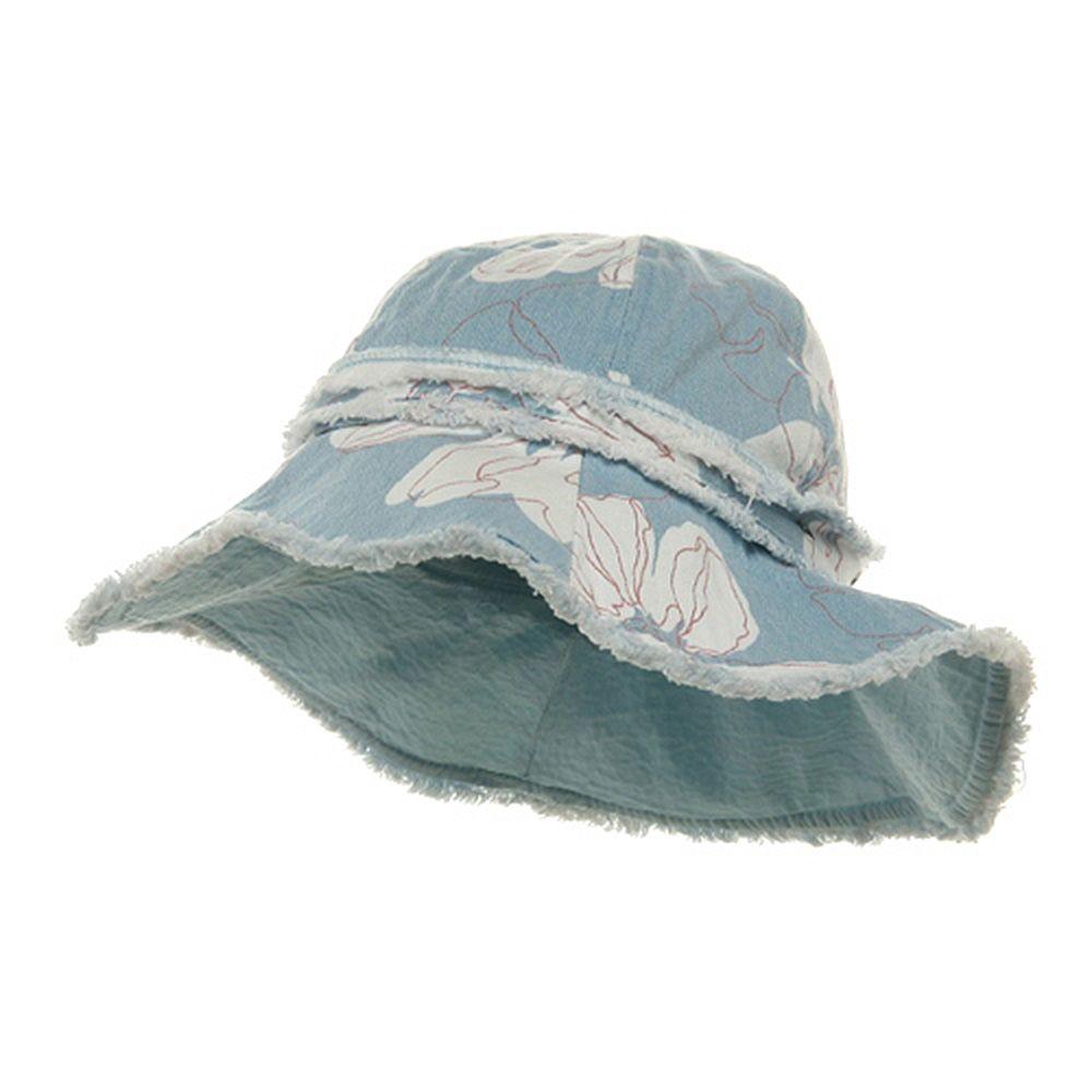Print Canvas Ladies Hat-Lt Blue
