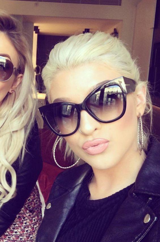 3906c1cb01649 Anoushka Cat Eye oversized XXL Thick Frames SEXY GIRL Women Sunglasses Lady  in Clothing