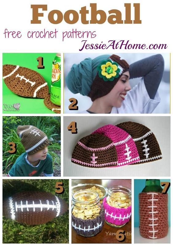 Football - free crochet pattern round up from Jessie At Home:   HATS ...