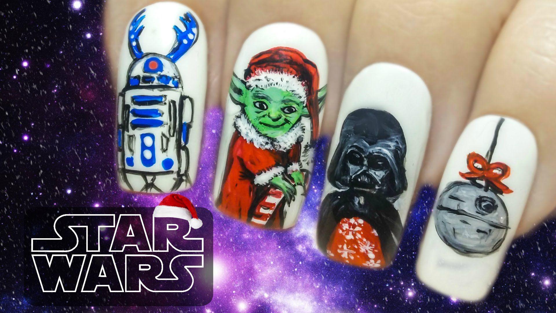 Star Wars on Christmas ⎮ Yoda as Santa ⎮ Freehand Nail Art Tutorial