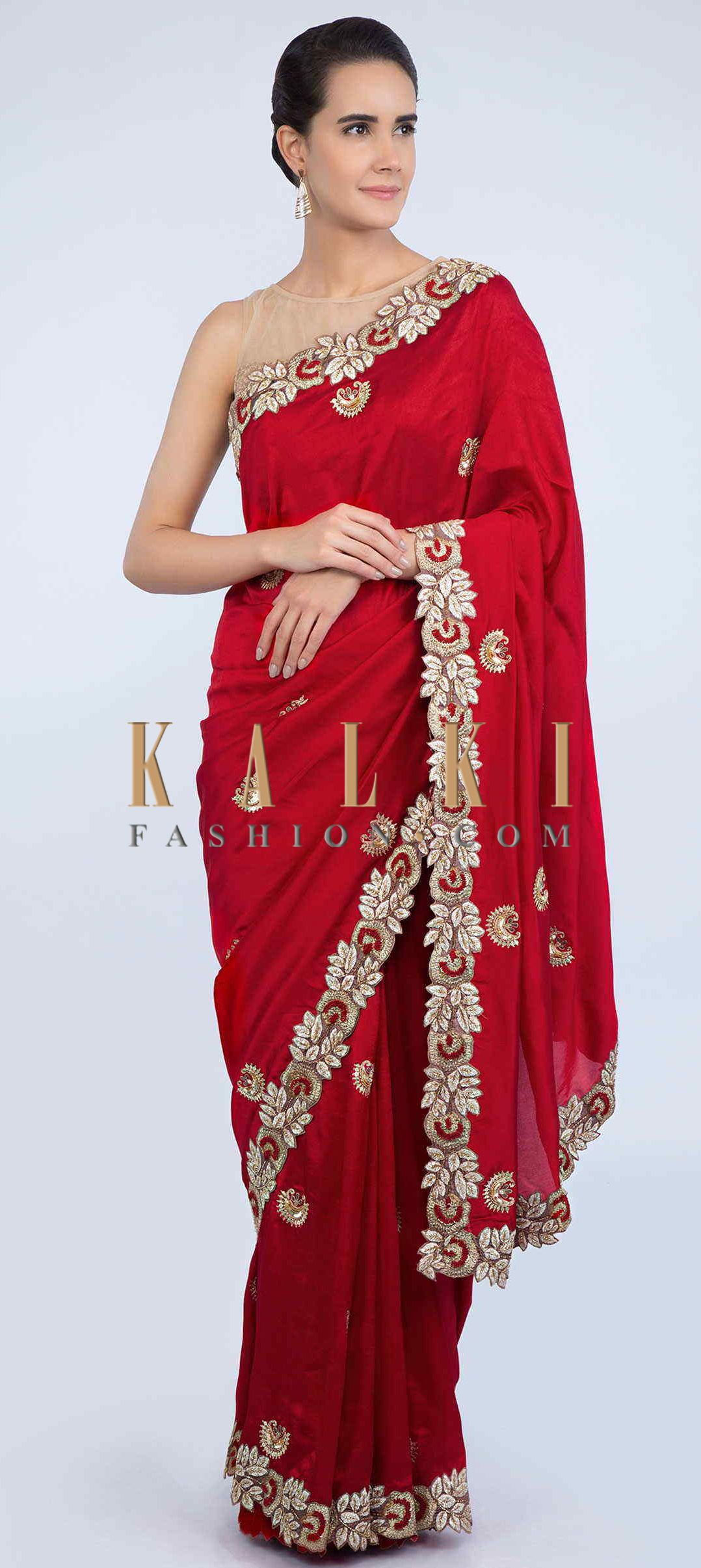 Buy Online From The Link Below We Ship Worldwide Free Shipping Over Us 100 Click Anywhere To Tag Red Dupion Saree Wit With Images Saree Designs Tussar Silk Saree Saree