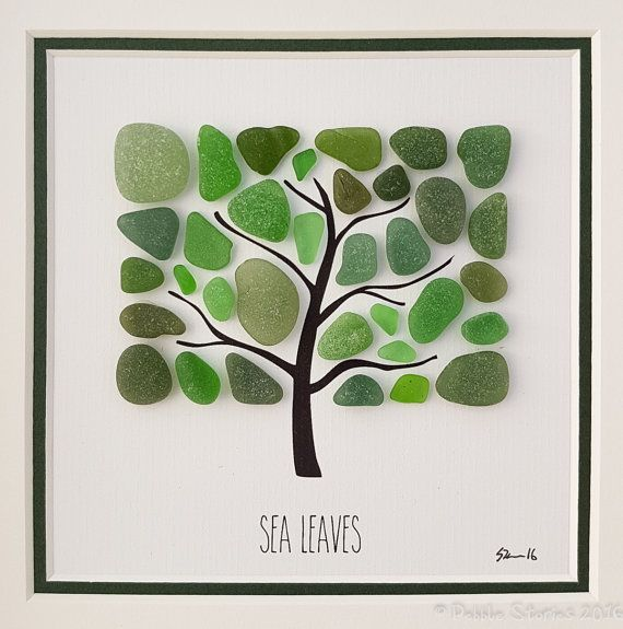 Seaglass Art - Seaham - Beach Picture - Wall Art - Tree Art - Family Gift - Living Room - Bea...