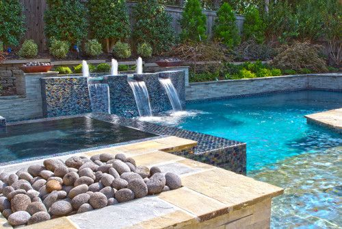 Modern Pools collierville modern geometric pool, spa, & outdoor living design