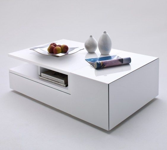 Picture Of Wide Designs Of White Coffee Table With Storage