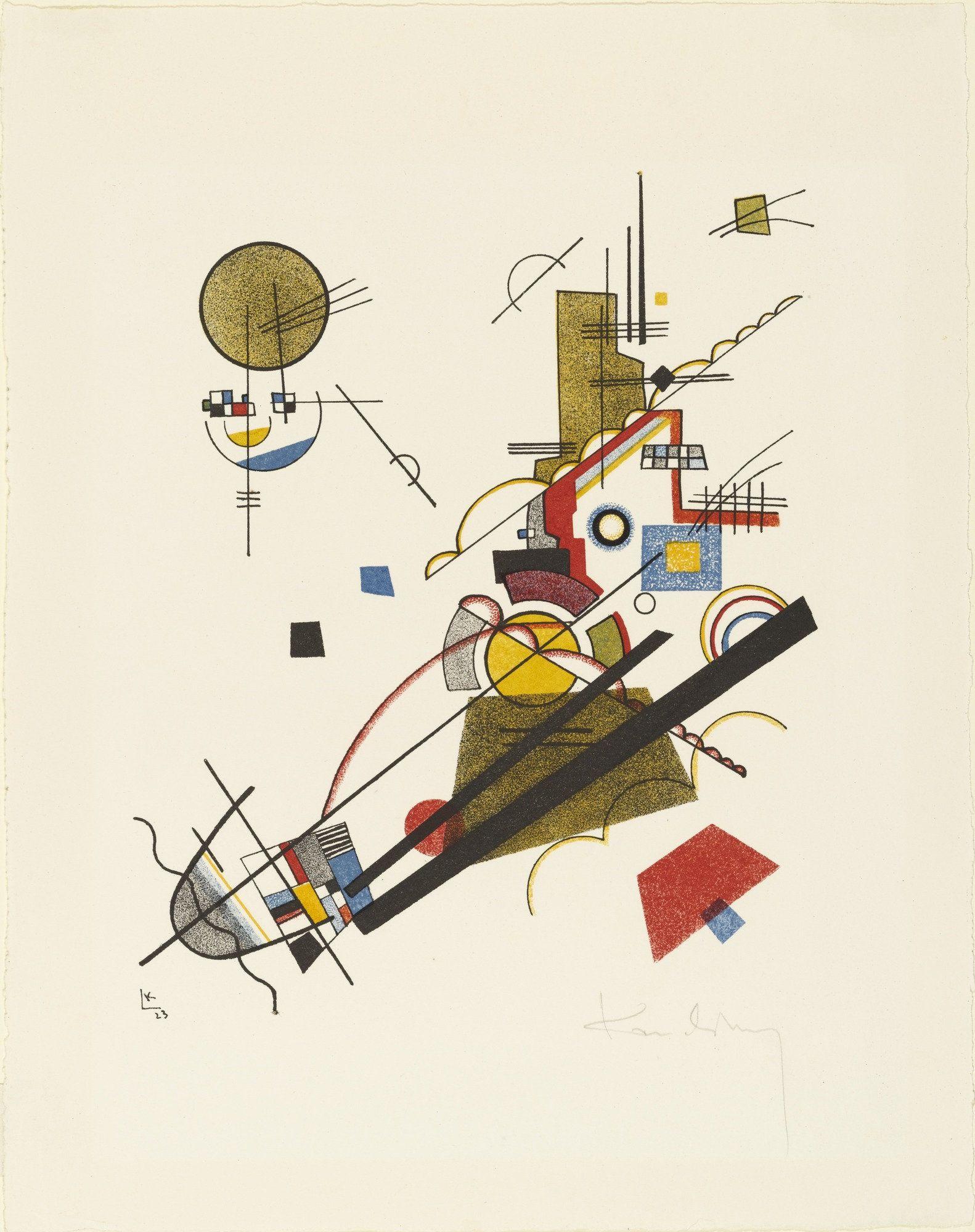 Joyous Ascent (Fröhlicher Aufstieg) from Masters' Portfolio of the Staatliches Bauhaus (Meistermappe des Staatlichen Bauhauses), Vasily Kandinsky, 1923. (From MoMA - http://www.moma.org/collection/works/74408?locale=en)