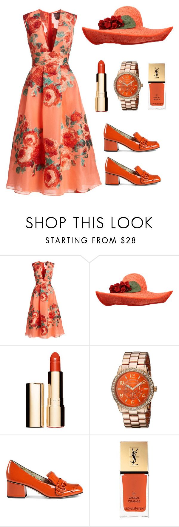 """""""Sunday best in orange"""" by im-karla-with-a-k ❤ liked on Polyvore featuring Lela Rose, Banjanan, Clarins, Vernier, Gucci and Yves Saint Laurent"""