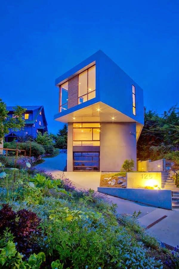 Architecture · cube shaped base urban house design in seattle with modern