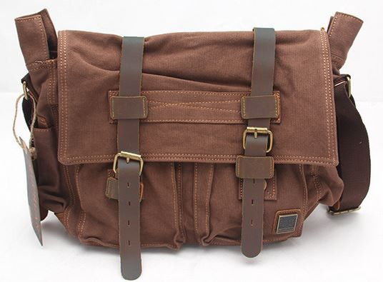 d0703a7b11bf Old School 14   Brown Leather and Canvas Messenger Bag for School ...