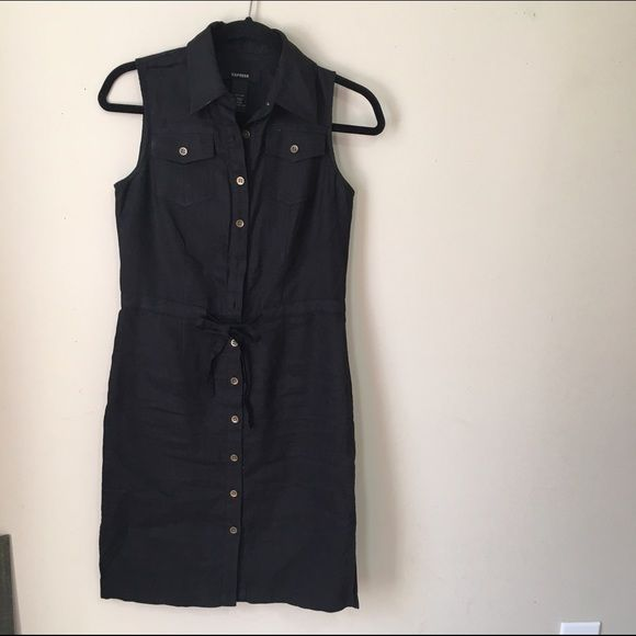 Express black linen dress S Pre loved condition . Express Dresses