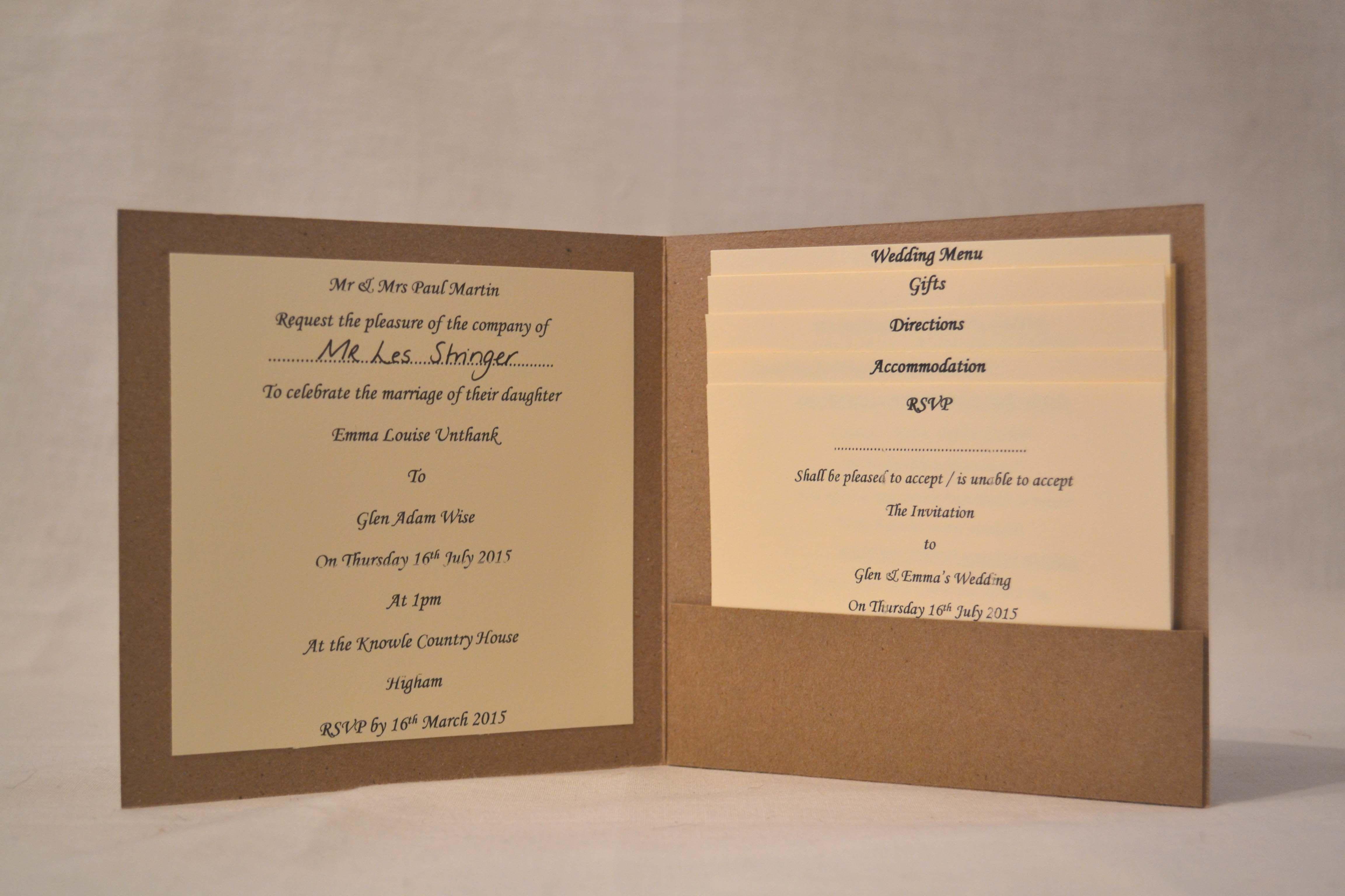 Wedding Invitation (Inside) Range of inserts included; - Information ...