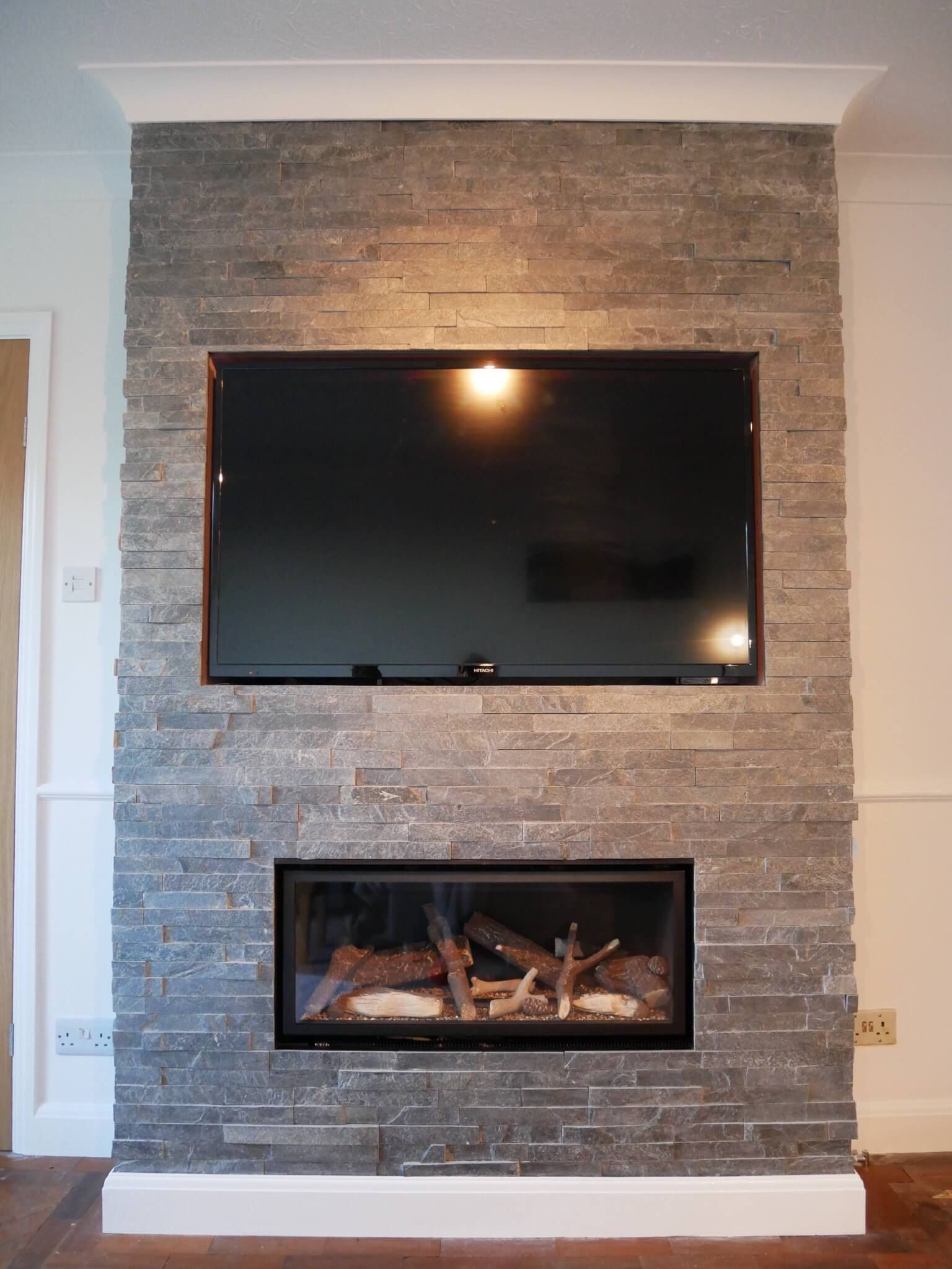 Contemporary Feature Fireplace Tv Wall With Silver Grey Split Fireplace Tv Wall Fireplace Feature Wall Tiled Fireplace Wall