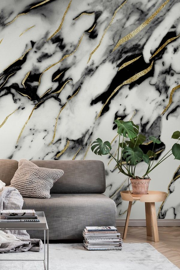Classic White Marble Gold 1 Wall Mural From Happywall Goldblackveins Trendy Abstract Bla Rose Gold Marble Wallpaper Marble Wall Mural Gold Marble Wallpaper
