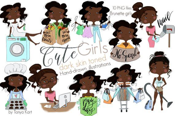 Cute Girls, Planner Girls Clipart, Dark Skin Toned Girls, Shopping Girl, Laundry Girl, Baking Girl, #darkskingirls