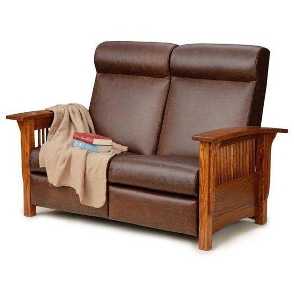 Amish Mission Recliner Loveseat Sofa ($2,394) Via Polyvore