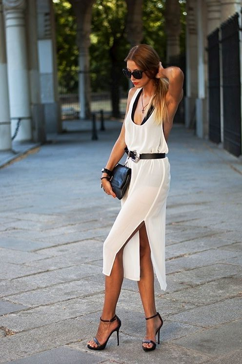 White Dress With Black Heels 2017 Street Style   New York Fashion ...