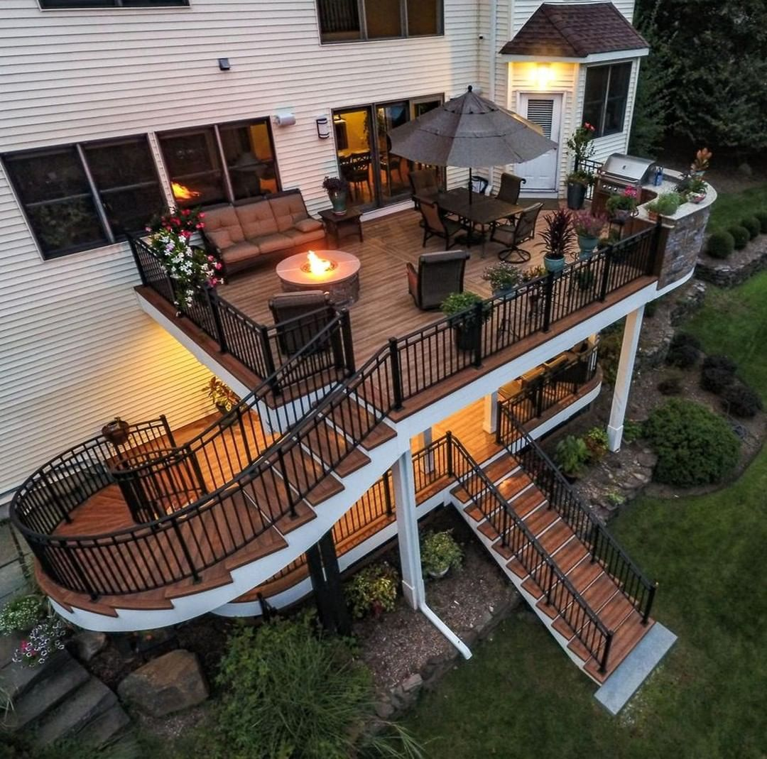 We Are Obsessed With The Multi Level Space Nothing Says Entertainment Like An Outdoor Kitchen Fire Feature And Lots Dream Patio Backyard Decor Backyard Deck