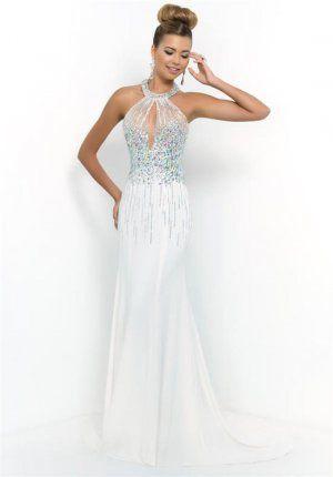 Blush 9970 Long White Beaded Haltered Prom Dresses 2015 | Blush prom ...
