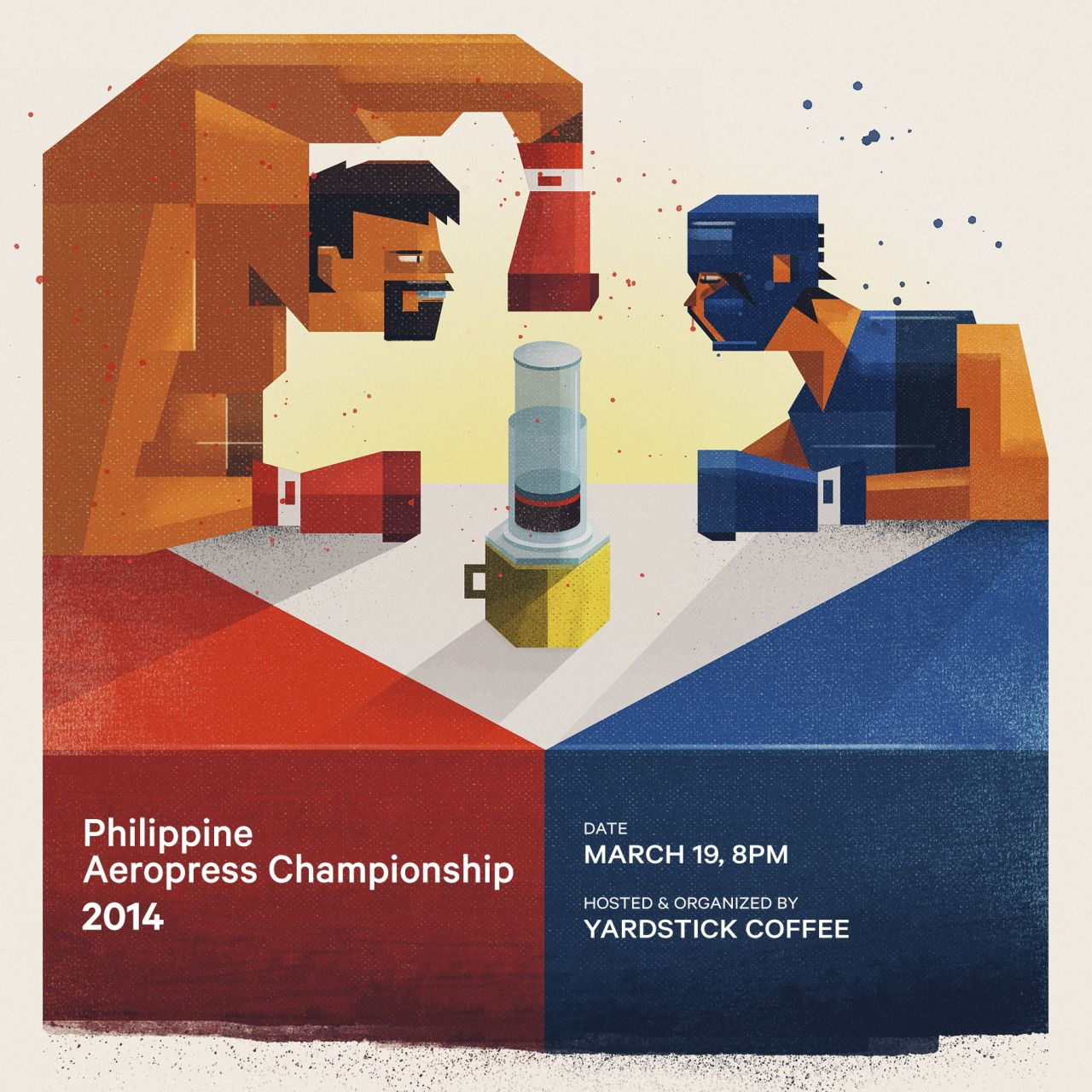 twistedfork:  Epic showdown. :) I made this illustration for the Philippine Aeropress Championship organized by Yardstick Coffee. The idea was to show a pro boxer (red corner) vs an amateur boxer (blue corner) trying to out-press each other, since the competition is open to both professional and home baristas. I also composed them on top of a Philippine-flag table. If you're based here in the Philippines and you want to compete, register now. :)