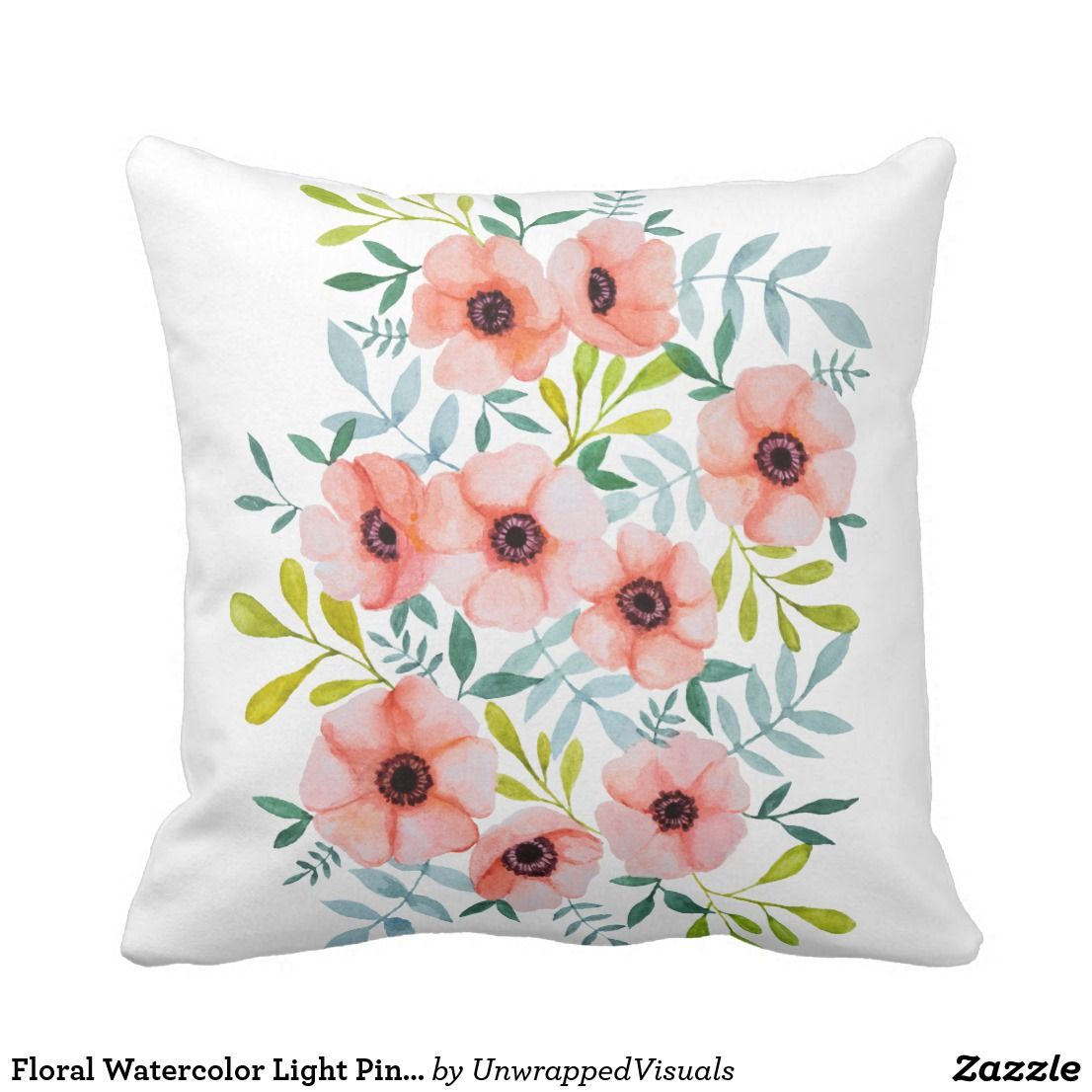 Floral Watercolor Light Pink Flowers Throw Pillow Light Pink