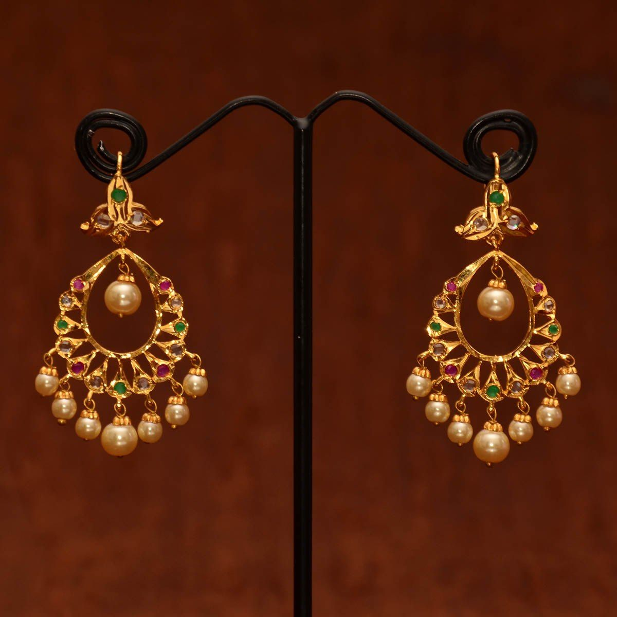 Shop Anvi S Chand Bali Studded With Uncut Stones Emeralds And