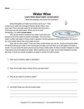 Water Conservation Comprehension | WATER | Pinterest