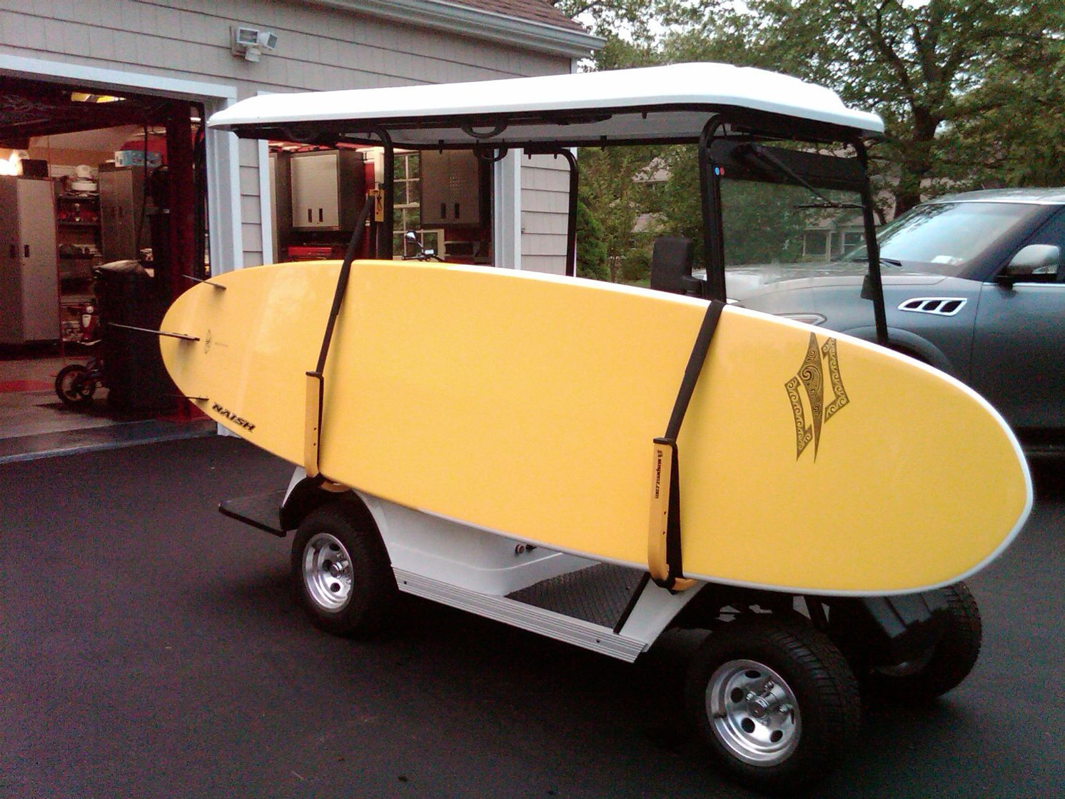 Transport your sup on your golf cart using this rack