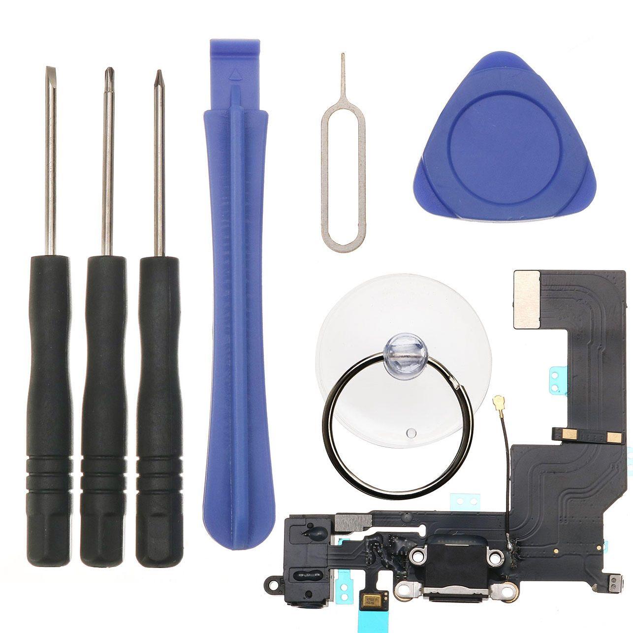 Black usb charging dock port flex cablerepair tools kit