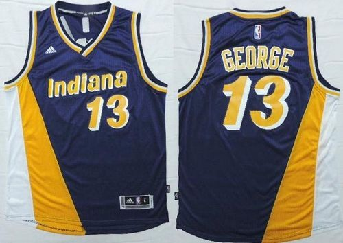 2e325a0e0 Pacers  13 Paul George Navy Blue Yellow Throwback Stitched NBA Je ...