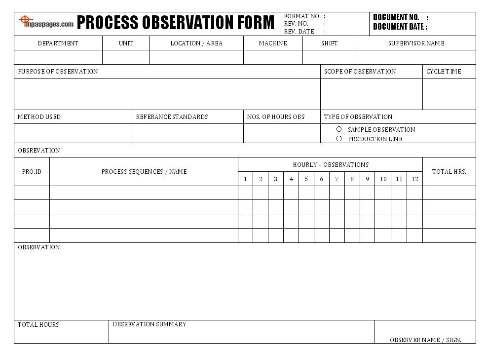 Process observation form | My work | Pinterest | Craft