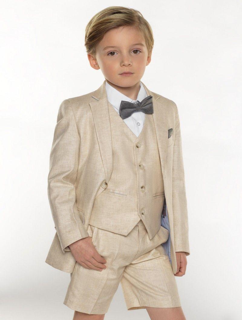 c85f79055abcf Boys beige linen short suit - Harvard | Wedding stuff | Linen suit ...