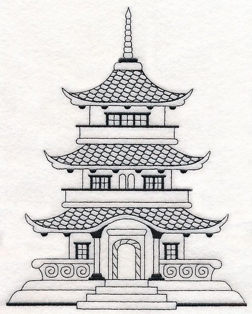 Asian house temple machine embroidery designs at embroidery library