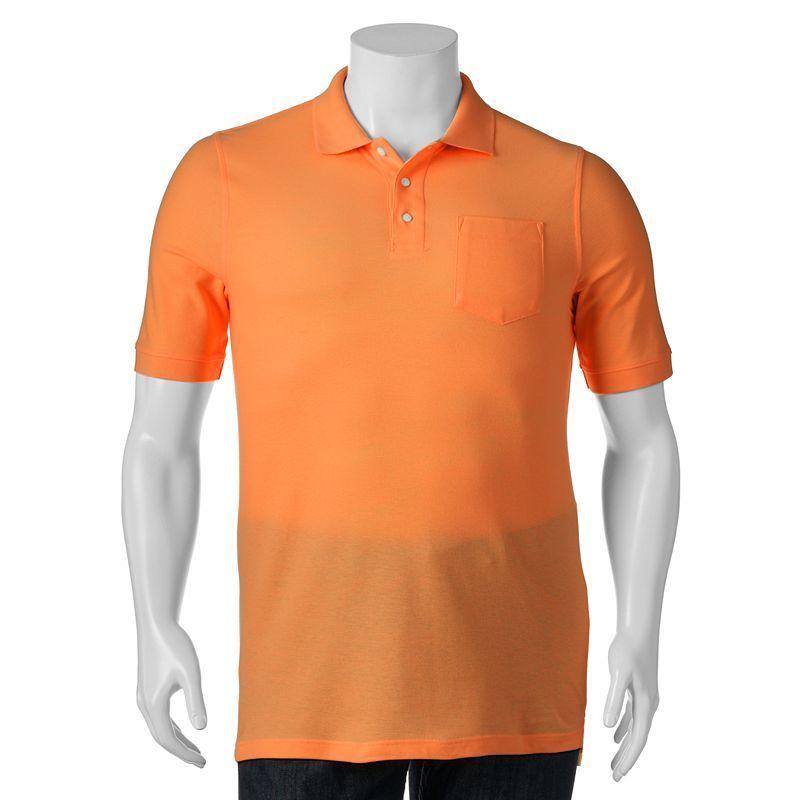 Big & Tall Croft & Barrow® True Comfort Classic-Fit Pique Performance Pocket Polo, Men's, Size: L Tall, Med Orange