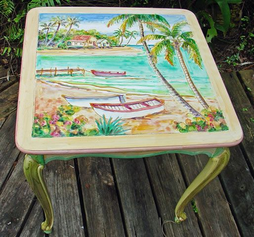 tropical painted furniture patio painted furniture table with red boat beach themed painted