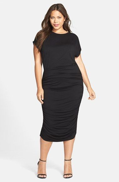 3e88b7a839f6e Plus Size Women's Vince Camuto Side Ruched Jersey Midi Dress, Size 1X -  Black (Nordstrom Exclusive)