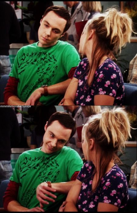 There... there... Sheldon's here.  (I love the face he's making!)