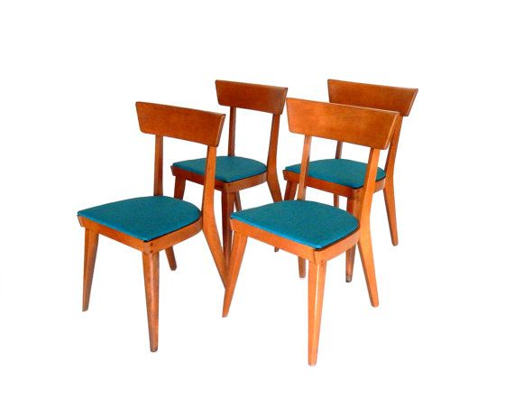 Mid Century Modern Dining Chairs Blonde Wood Maple Turquoise Heywood Wakefield