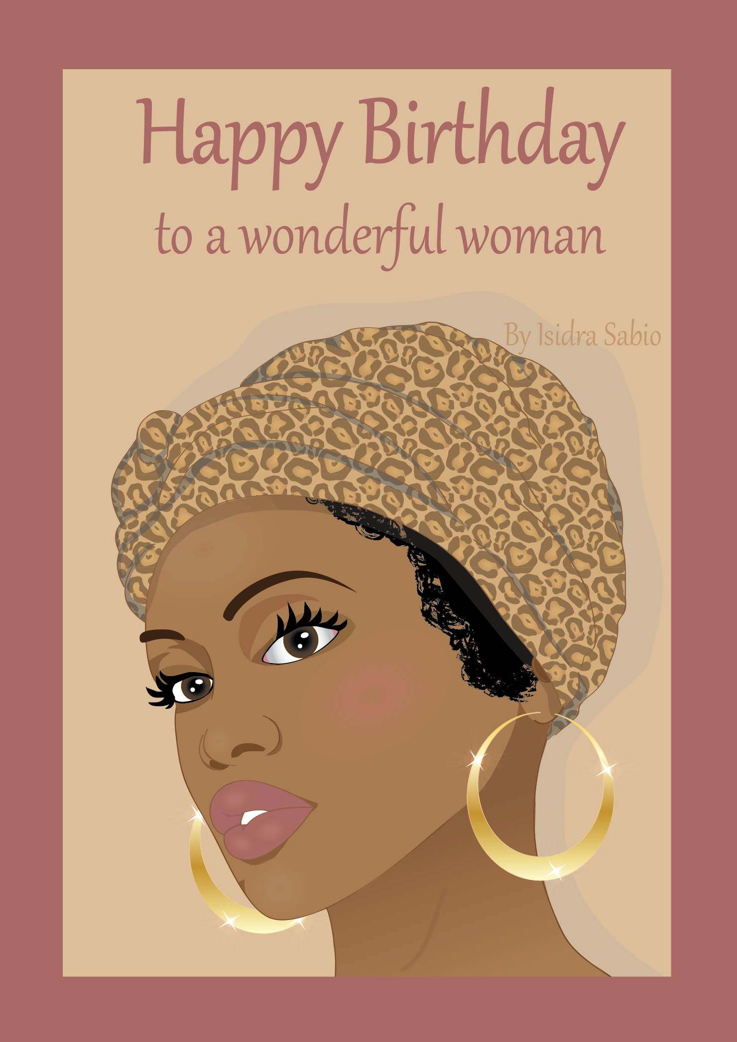 this afrocentric birthday card for women shows the face of a gorgeous african american black woman she has beautiful eyes and full lips and is wearing a