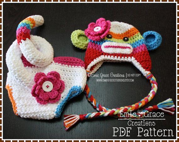 Sock Monkey Crochet Hat And Diaper Cover Pattern Set Suzy Sid