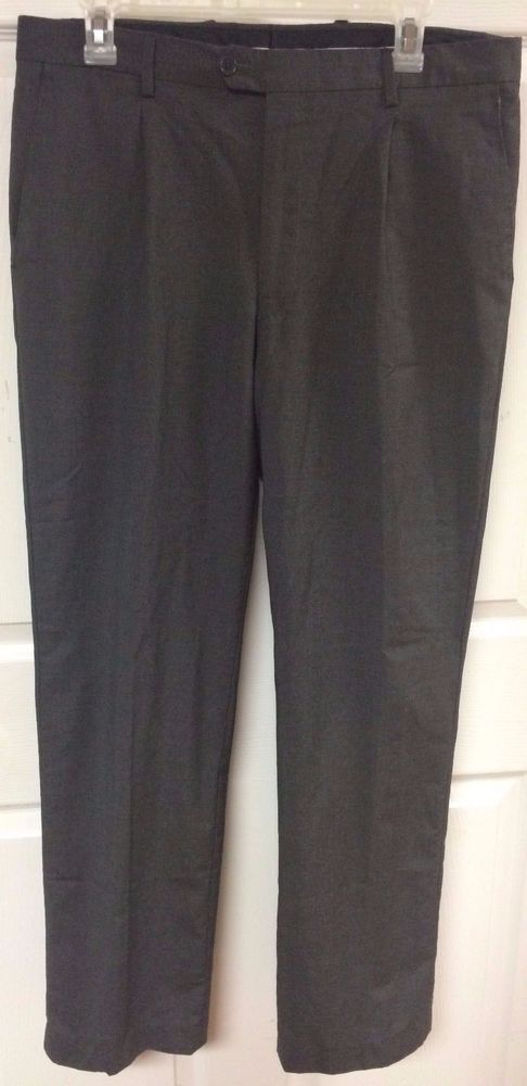 YSL Yves Saint Laurent Charcoal Gray Dress Pants Pleated Italy Mens 34 x 31 LkN #YvesSaintLaurent #DressPleat
