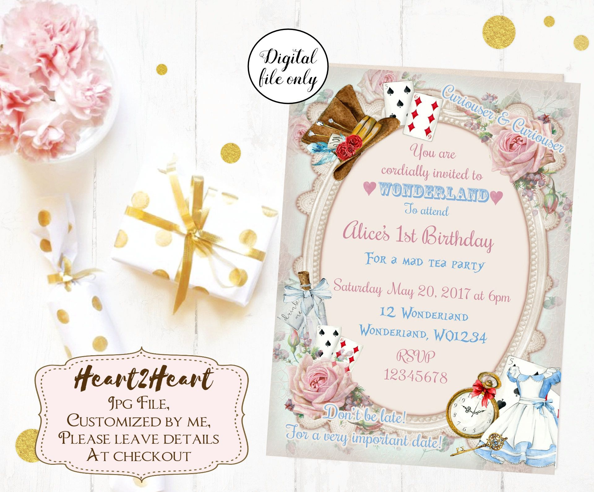 Alice in Wonderland Invitation Birthday Invitation | baby shower ...