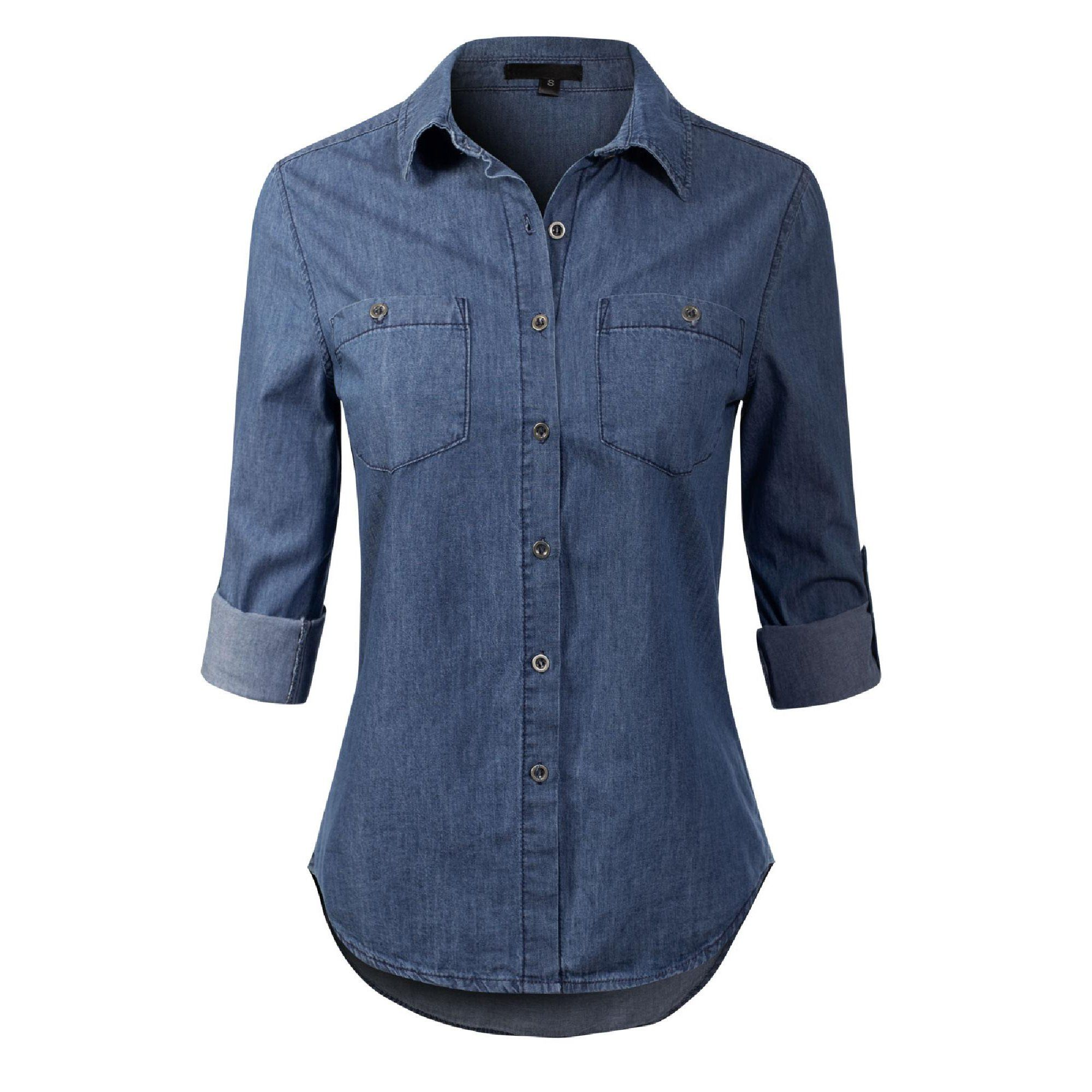 Made By Olivia Made By Olivia Women S Basic Classic Roll Up Sleeve Button Down Chambray Denim Shirt Walmart Com In 2021 Chambray Denim Shirt Denim Shirt Best Hoodies For Men [ 2000 x 2000 Pixel ]
