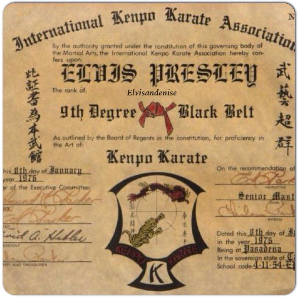 Elvis, s Black Belt Karate certificate... :) YAy luv | Martial Arts ...