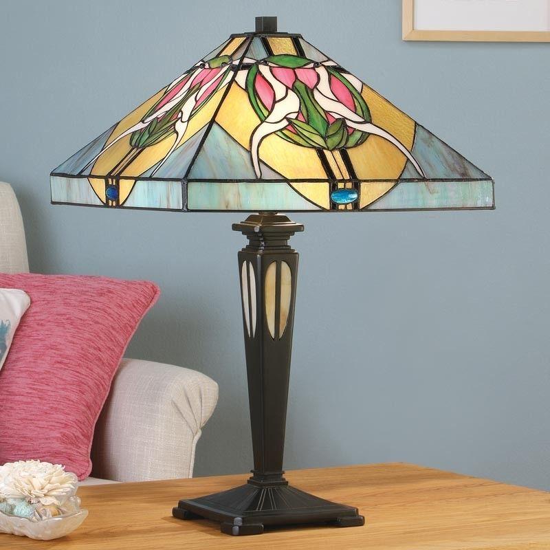Lampada da Tavolo o Scrivania Tiffany quadrata (con