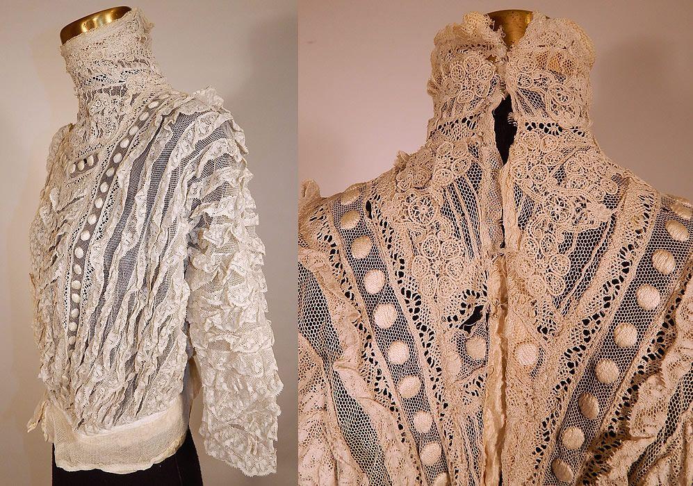 Edwardian embroidered polka dot white net lace applique bodice