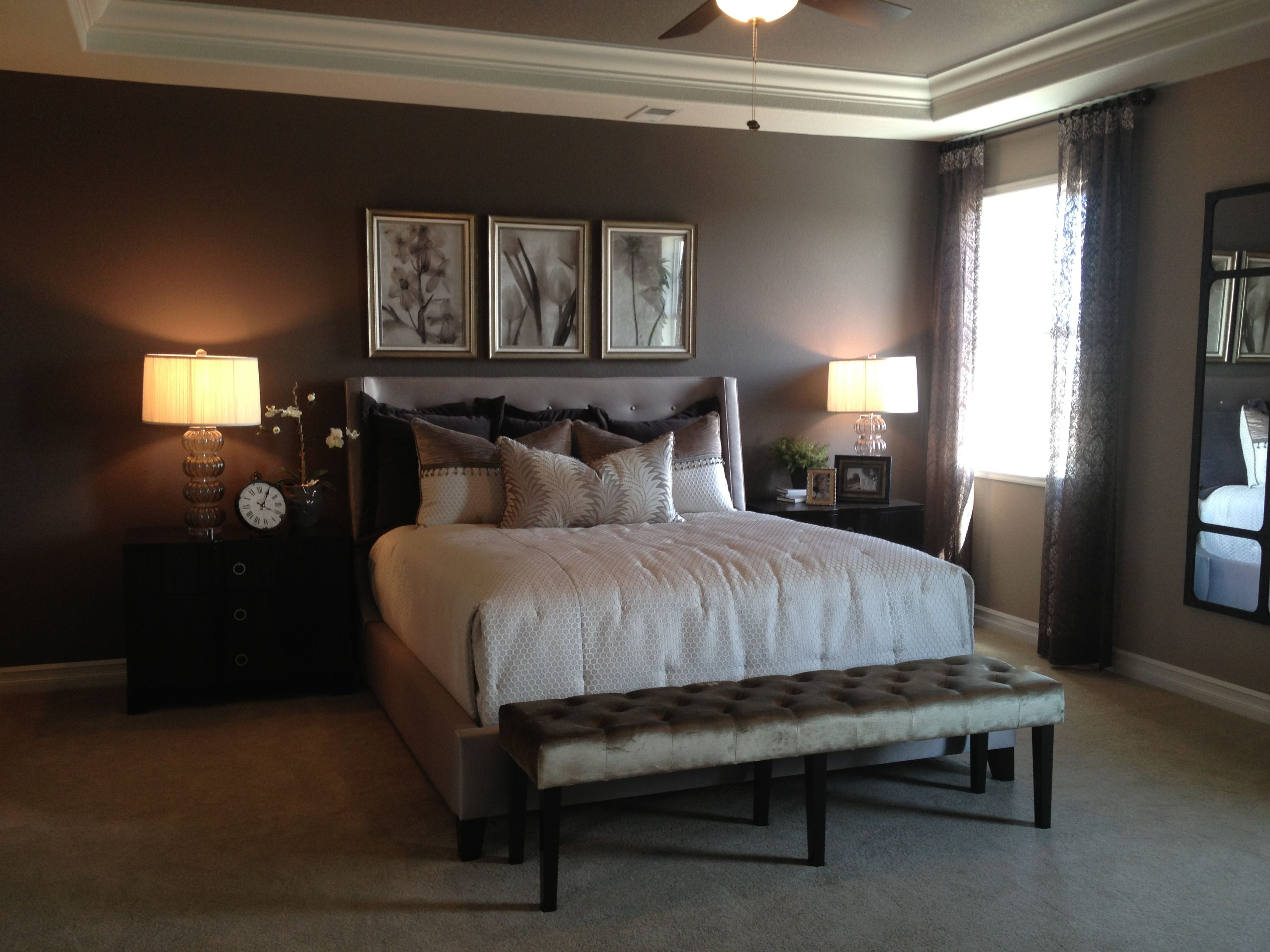 Parade of Homes 2013 master bedroom. Brown walls and white