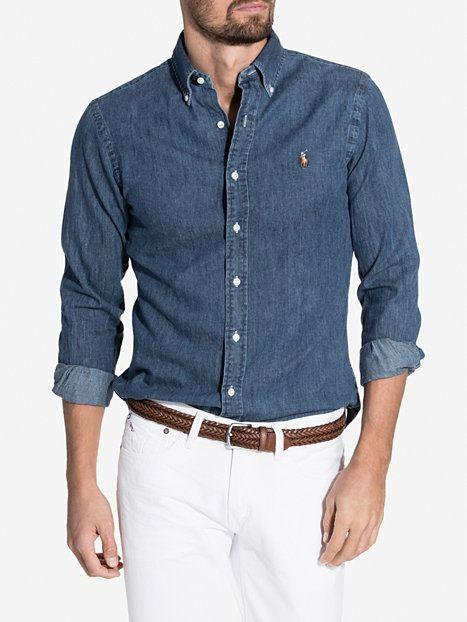 Slim fit denim shirt polo ralph lauren dark wash for Polo shirt and jeans