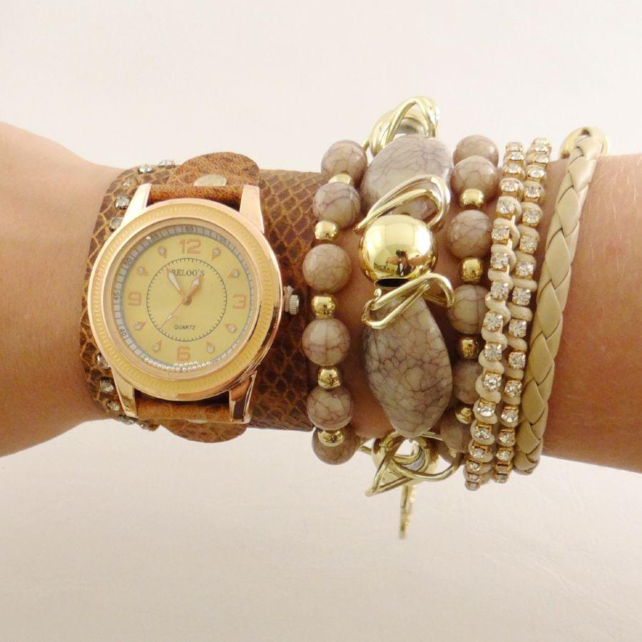Relógio Marrom com strass.    www.relogiosdadora.com.br